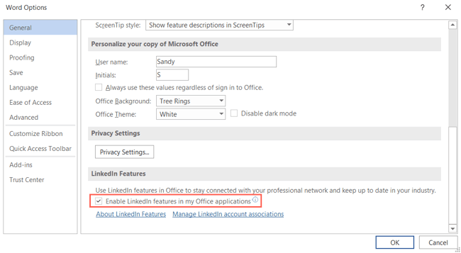 Enable LinkedIn Features in Word