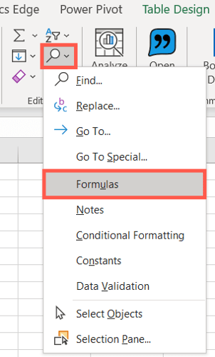 Go to the Home tab, click Find & Select, choose Formulas