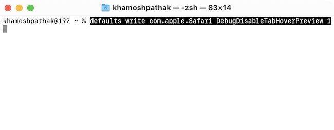 Terminal Command To Disable Tap Previews in Safari