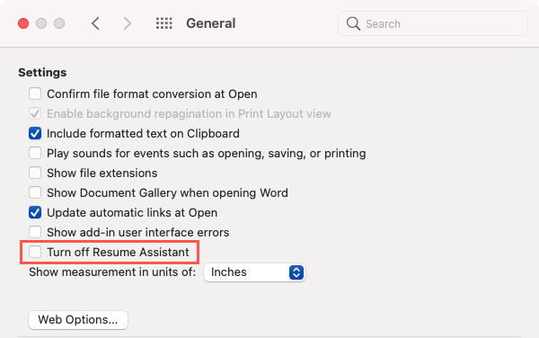 Uncheck Turn Off Resume Assistant