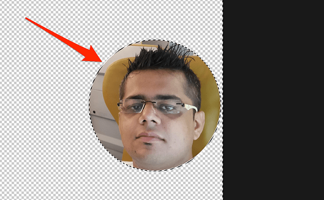 Circled photo in Photoshop