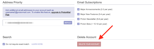 ProtonMail Delete My Account