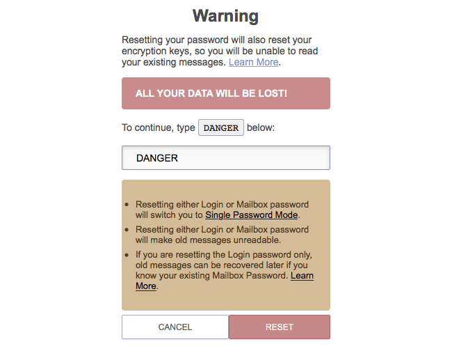 ProtonMail Confirm Reset