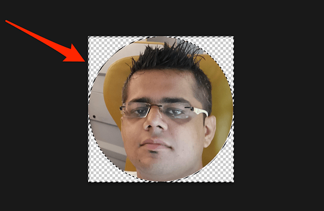 A circle-shaped image in Photoshop