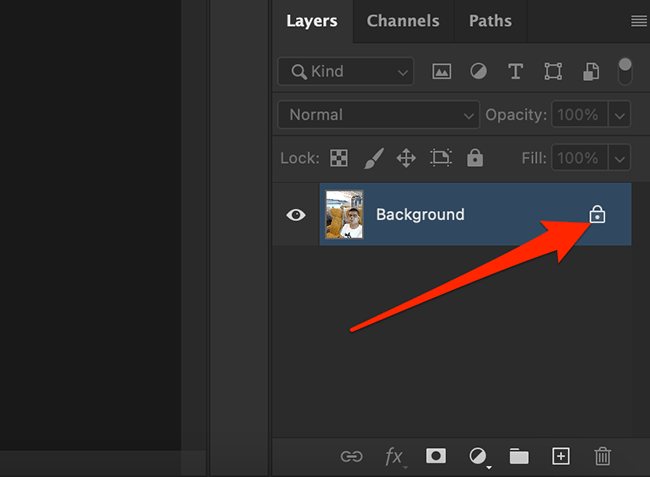 Click the lock icon in the Layers panel on the Photoshop window