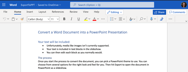 Document in Word for the Web