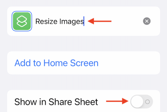 """Customize the shortcut name and enable the """"Show in Share Sheet"""" feature."""