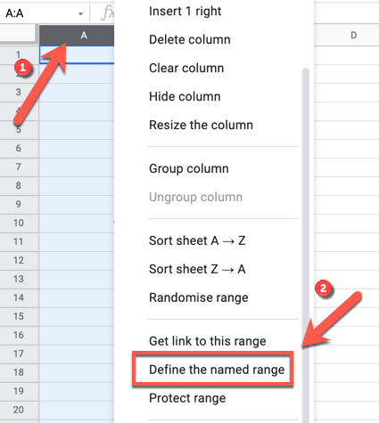 To apply a new named range to a selected row or column, right-click the selected cells, then press the
