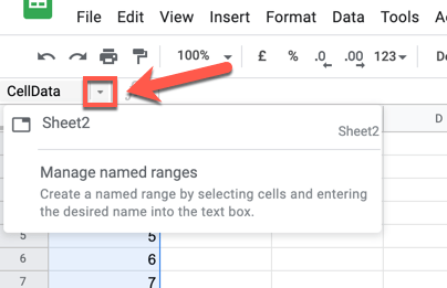 To view a list of named ranges, press the downwards arrow button next to the name box.