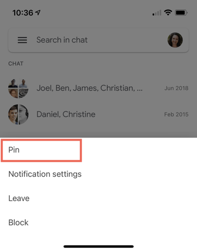 Tap and hold, select Pin