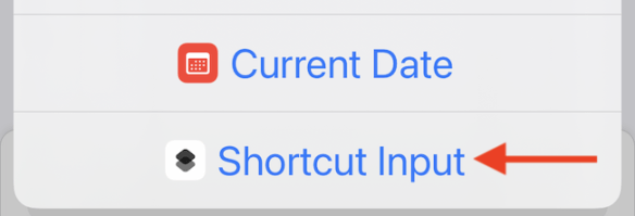 """Choose """"Shortcut Input"""" as the source of the shortcut."""