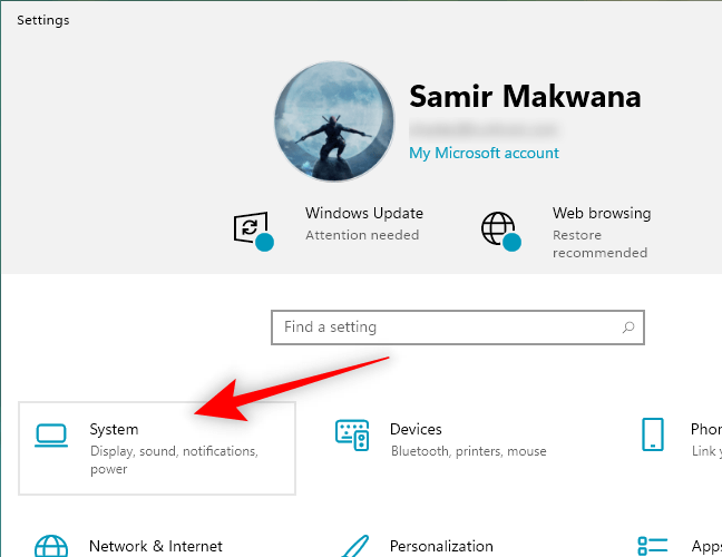 Select System from the Windows Settings App