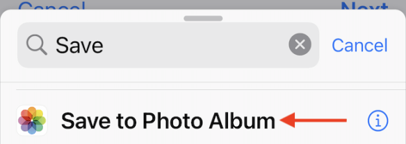 """Add """"Save to Photo Album"""" action to the shortcut."""