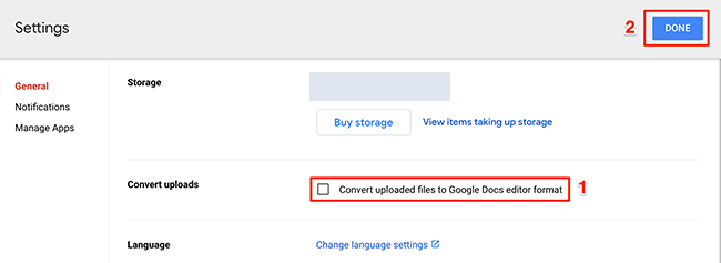 Disable the file conversion option on the Google Drive site.
