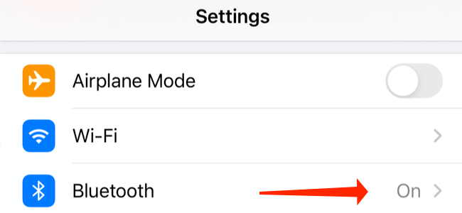"""Tap """"Bluetooth"""" in iPhone settings"""