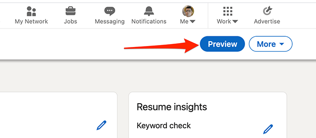 """Click """"Preview"""" to preview the resume made with LinkedIn's resume creation tool."""