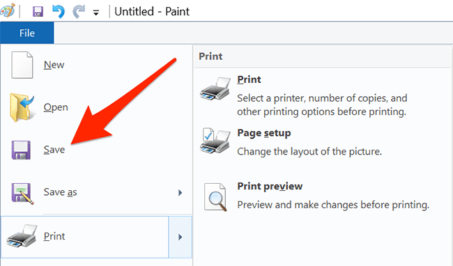 """Select """"File > Save"""" in Paint."""