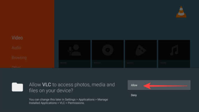 """When VLC launches for the first time, select """"Allow"""" to permit it to access media folders."""