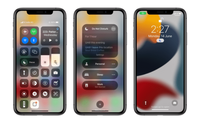 Enabling Focus Mode from Control Center