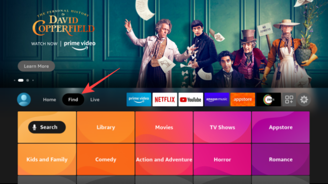 Launch the Fire TV home page, go to the Find section and press the Fire TV Remote's center button to open it.