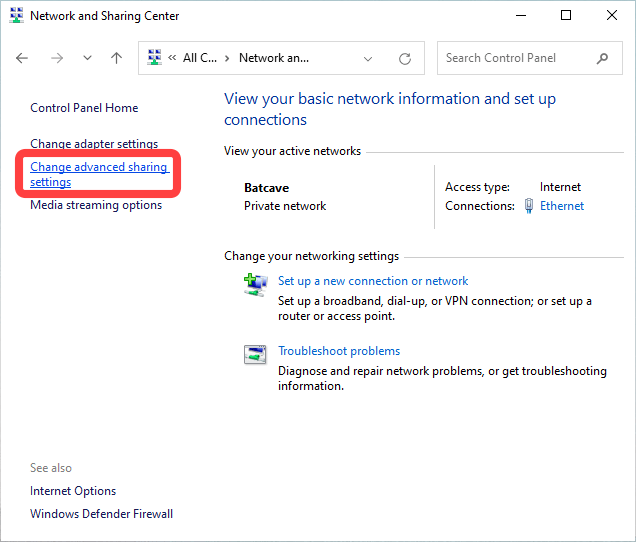 """Click """"Advanced Sharing Settings"""" on the left column."""