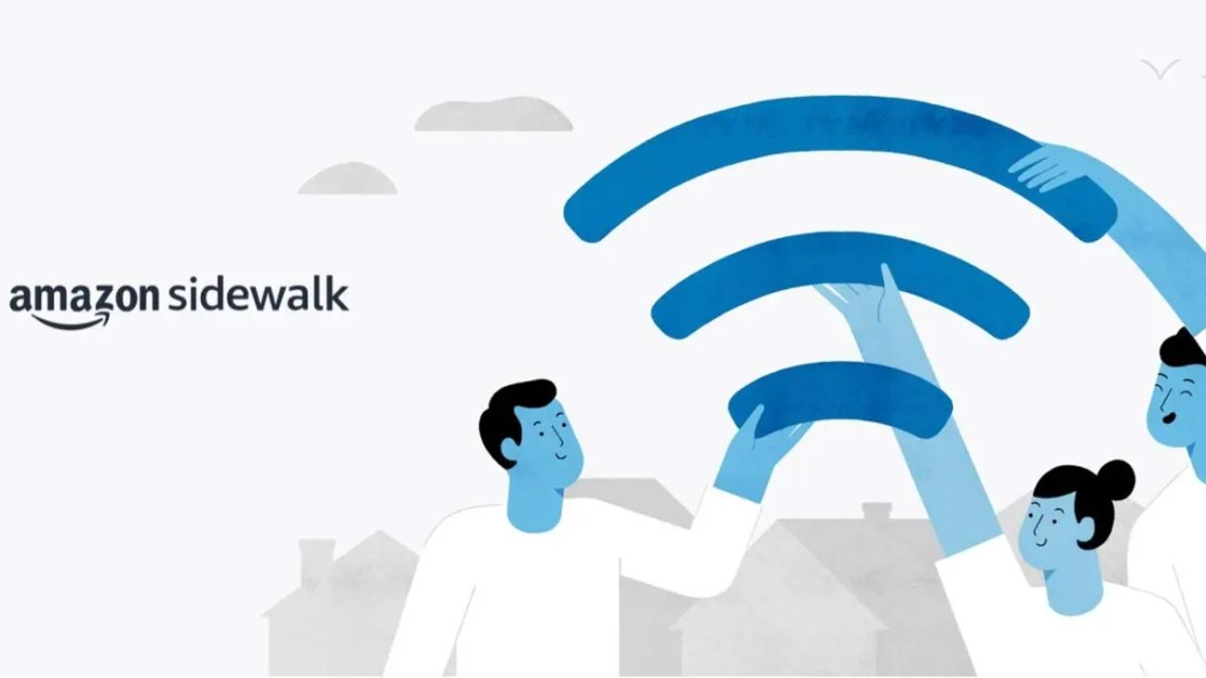 Amazon Sidewalk text and illustration of people holding part of the WiFi symbol