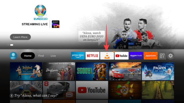 Notice the VLC Media Player app shortcut pinned on the Fire TV home page for quick access.