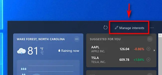 """In the Windows 10 news widget, click """"Manage Interests."""""""