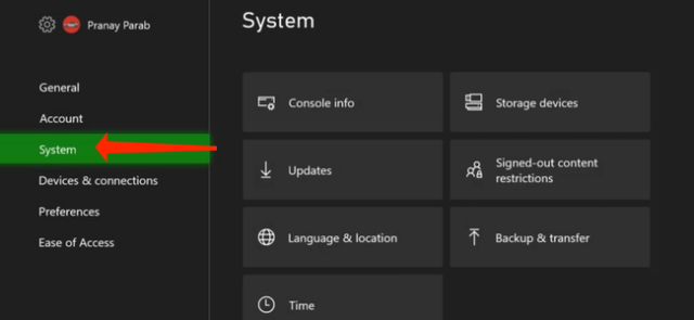 """When you've opened """"Settings"""" on the Xbox Series X