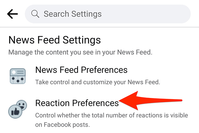 """Tap """"Reaction Preferences"""" in the """"Settings"""" menu of the Facebook app."""