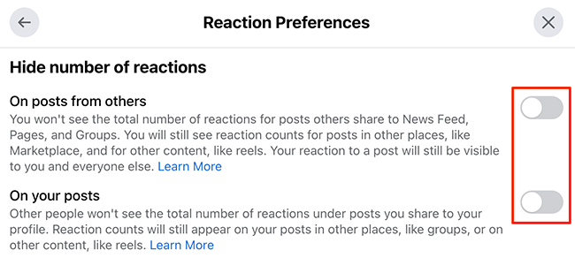 """Hide like counts using the """"Reaction Preferences"""" window on the Facebook site."""