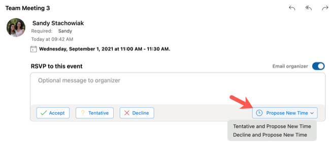 Click Propose New Time in the Outlook email