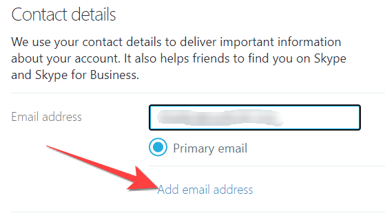 """Select the """"Add email address"""" link to your Skype profile."""