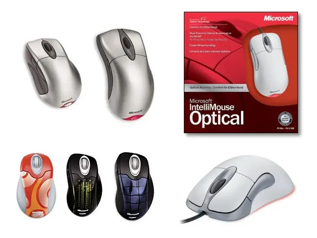 Various Microsoft Intellimouse models over time.