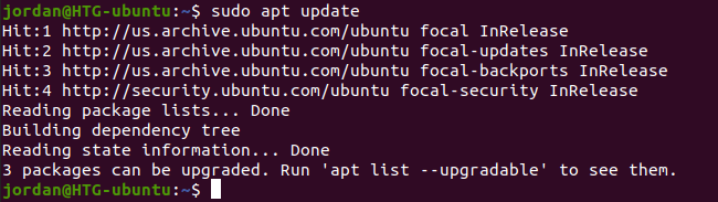 """Type """"sudo apt update"""" in the terminal and press Enter"""