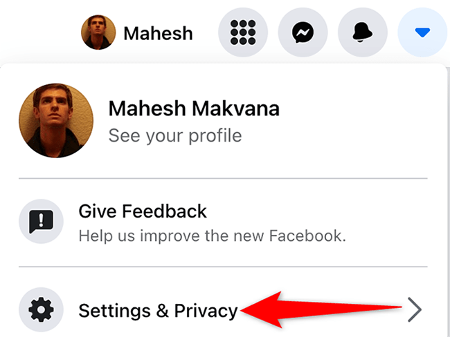 """Select """"Settings & Privacy"""" on Facebook."""