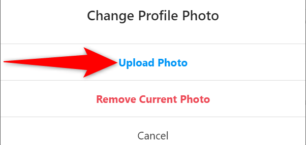 """Select """"Upload Photo"""" in the """"Change Profile Photo"""" prompt on the Instagram site."""