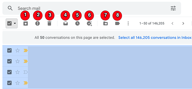 Actions to apply to emails on Gmail.