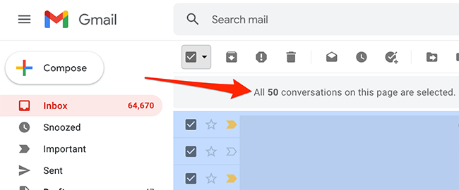 All on-screen emails are selected in Gmail.
