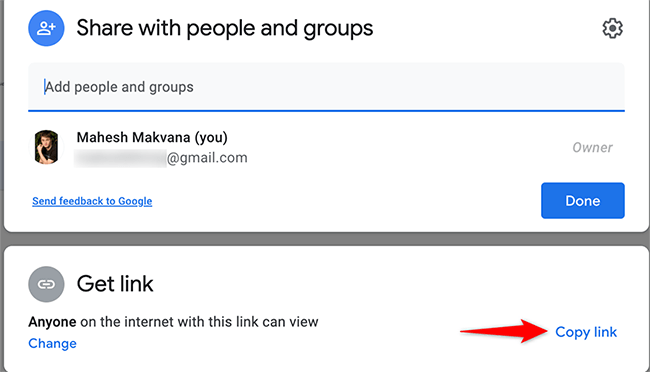 """Select """"Copy Link"""" from the """"Share with People and Groups"""" window on Google Drive."""