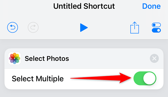 """Enable """"Select Multiple"""" for """"Select Photos"""" in Shortcuts."""