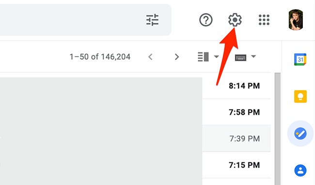 """Click the """"Settings"""" option on Gmail."""