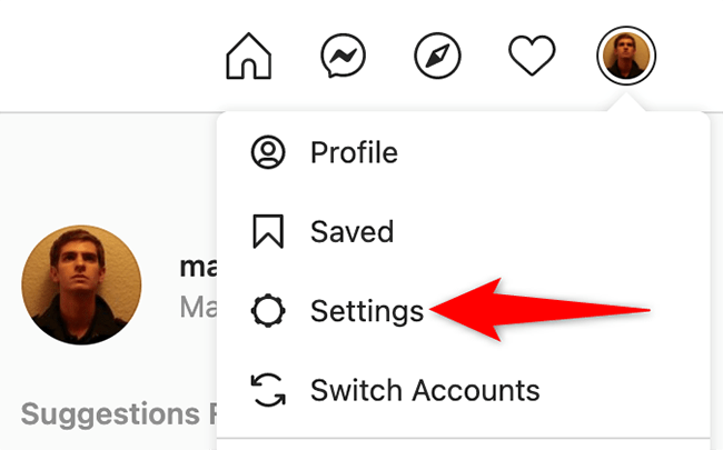 """Select """"Settings"""" from the profile menu on the Instagram site."""