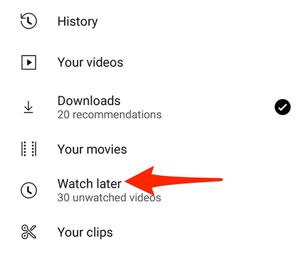 """Select """"Watch Later"""" from the """"Library"""" page in the YouTube app."""