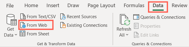 On the Data tab, select From Web