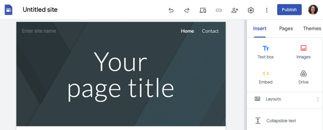 Google Sites page building screen