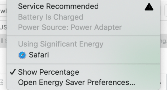 Example of the macOS Significant Energy Warning