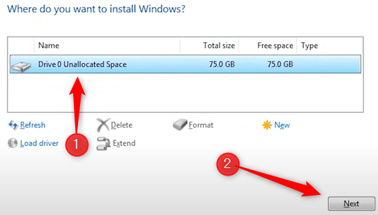 Select drive you want to install Windows on.
