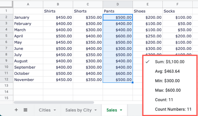 Select a different calculation or count