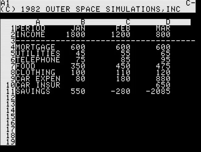 The first known boss key screen, in Bezare for Apple II (1982).